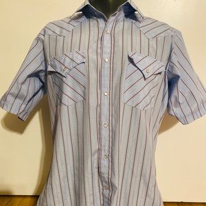 Ely Cattleman Shirt Blue Pearl Snap 16 Western